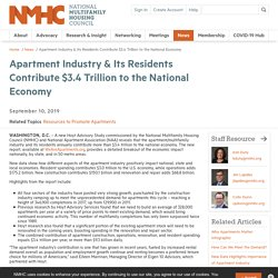 Apartment Industry & Its Residents Contribute $3.4 Trillion to the National Economy