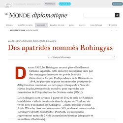 Des apatrides nommés Rohingyas, par Warda Mohamed (Le Monde diplomatique, novembre 2014)