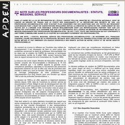 Statuts, missions, service des professeurs documentalistes