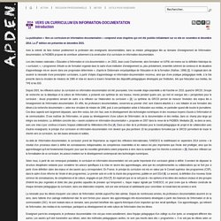 APDEN : VERS UN CURRICULUM EN INFORMATION-DOCUMENTATION