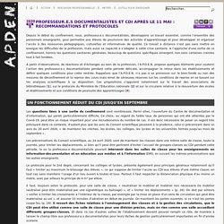 Professeur.e.s documentalistes et CDI après le 11 Mai : recommandations et protocoles