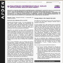 Eval de l'info et veille - A. Serres, FADBEN