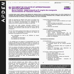 Document de collecte et apprentissages info-documentaires