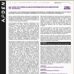 Vers un curriculum en info-documentation - APDEN