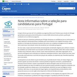 CAPES - Coordenação de Aperfeiçoamento de Pessoal de Nível Superior - Nota Informativa sobre a seleção para candidaturas para Portugal