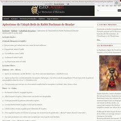 Aphorisme de l'Aleph Beth de Rabbi Nachman de Braslav « La Kabbale Des Lettres « Kabbale