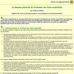 Le Nouveau protocole de traitement aux huiles essentielles