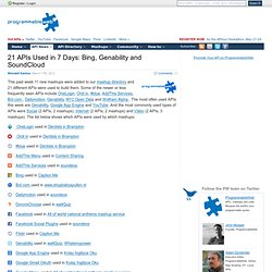21 APIs Used in 7 Days: Bing, Genability and SoundCloud