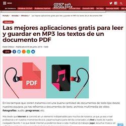 Aplicaciones gratis para leer y guardar en MP3 los textos de un PDF