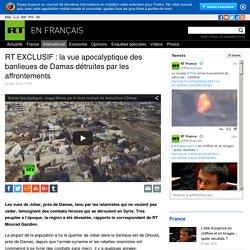Vue apocalyptique des banlieues de Damas détruites par les affrontements