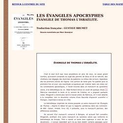 Apocryphes : Evangile de Thomas l'Israélite