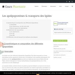 Les apolipoprotéines & transports des lipides - Cours Pharmacie