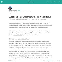 Apollo Client: GraphQL with React and Redux — Building Apollo