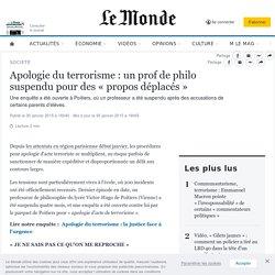 Apologie du terrorisme : un prof de philo suspendu pour des « propos déplacés »