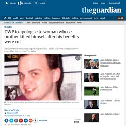 DWP to apologise to woman whose brother killed himself after his benefits were cut