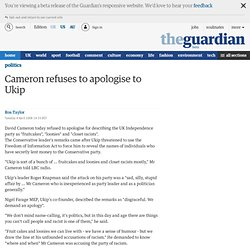 Cameron refuses to apologise to Ukip