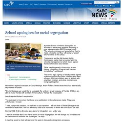 School apologises for racial segregation:Monday 2 February 2015