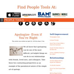 Apologize- Even if You're Right - PEOPLE TOOLSPEOPLE TOOLS