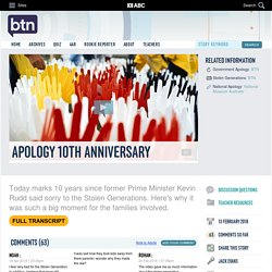 Apology 10th Anniversary: 13/02/2018, Behind the News