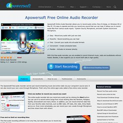 Apowersoft Free Online Audio Recorder – Record any audio online with one click