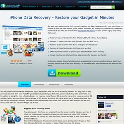 iPhone Data Recovery – Restore/recover deleted files for iPhone, iPad and iPod Touch