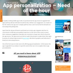 App personalization – Need of the hour