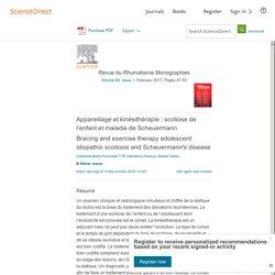 Appareillage et kinésithérapie: scoliose de l'enfant et maladie de Scheuermann