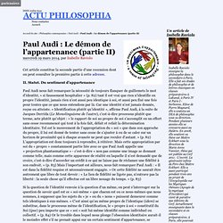 Paul Audi : Le démon de l'appartenance (partie II)
