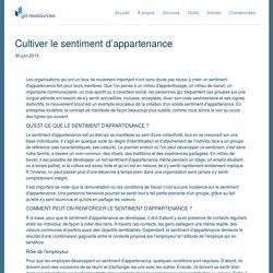 Document 5: Cultiver le sentiment d'appartenance