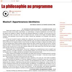 La philosophie au programme: Maalouf / Appartenances identitaires