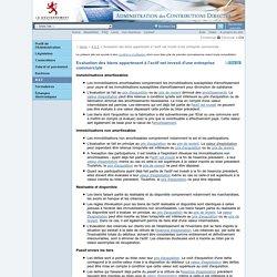 Evaluation des biens appartenant à l'actif net investi d'une entreprise commerciale
