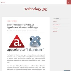 5 Good Practices for Titanium Application Development