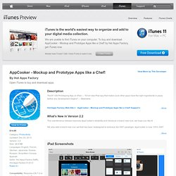 App Cooker - Design, Mockup, Prototype, Draft or Wireframe App Interfaces for iPad on the iTunes App Store