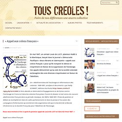«Appel aux colons français»