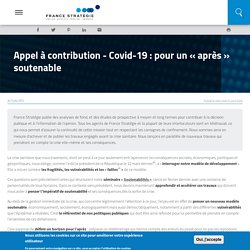 Appel à contribution - Covid-19 : pour un « après » soutenable