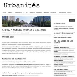 Appel / Mondes urbains chinois
