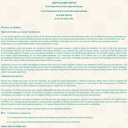 Appel 01/11/1954 au peuple algérien