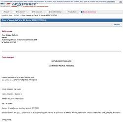 Cour d'appel de Paris, 20 février 2008, 07/17085