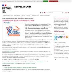 """Appel à projets 2020 """"Maisons Sport-Santé"""""""