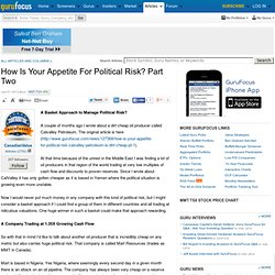 How Is Your Appetite for Political Risk? Part Two