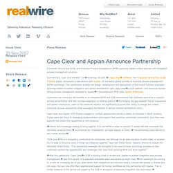 Cape Clear and Appian Announce Partnership