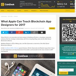 What Apple Can Teach Blockchain App Designers for 2017