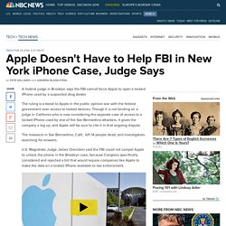 Apple Doesn't Have to Help FBI in New York iPhone Case, Judge Says