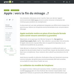 Apple : vers la fin du minage ..? - Green IT