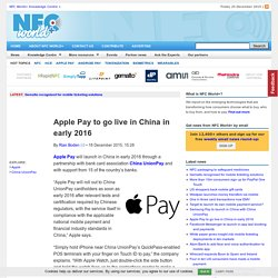 Apple Pay to go live in China in early 2016