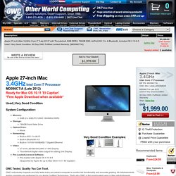 "Apple MD096CT/A 27"" iMac (2012) 3.4GHz Core i7:... in stock at OWC"