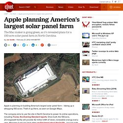 Apple planning America's largest solar panel farm