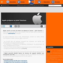 Apple prépare sa Joint Venture