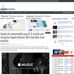 Apple to reportedly pay 0.2 cents per song for Apple Music 90-day free trial period