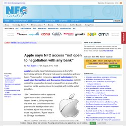 "Apple says NFC access ""not open to negotiation with any bank"""